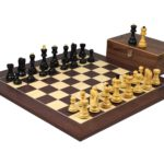 Executive Range Wooden Chess Set Macassar Board 20″ Weighted Ebonised Zagreb Staunton Pieces 3.75″
