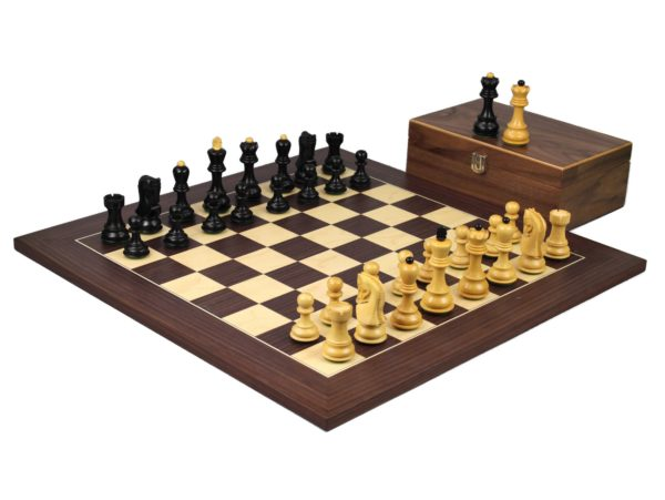 macassar staunton chess set with ebonised zagreb chess pieces