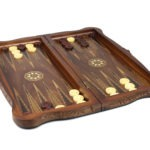 "Luxury Range Helena Backgammon Set ""Carved Walnut"" – 20″ – 2181"