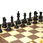 Executive Range Wooden Chess Set Walnut Board 20″ Weighted Ebonised Staunton Fierce Knight Pieces 3.75″