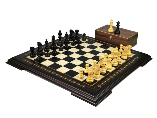 ebonywood staunton chess set with atlantis ebonised chess pieces