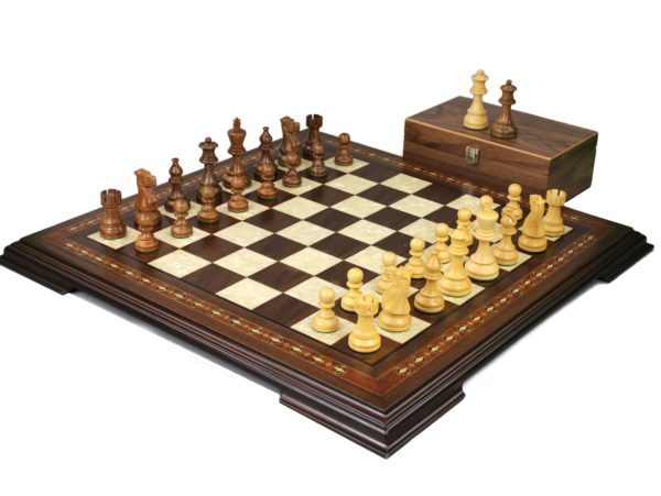 walnut staunton chess set with classic staunton chess pieces
