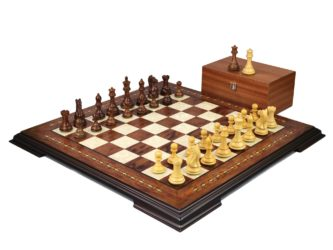 Premium Range Helena Chess Set Rosewood 23″ Weighted Sheesham Fierce Knight Staunton Chess Pieces 3.75″