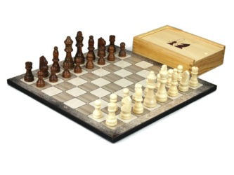"Classic Range Wooden Chess Set With Pieces and Storage Box ""Platinum Oak""- 14″"
