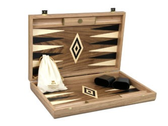 "Executive Range Manopoulos Backgammon Set ""Antique Walnut""- 23″  Storage Racks Included"