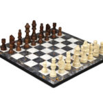 "Classic Range Wooden Chess Set With Pieces and Storage Box ""Grey Marble""- 14″"
