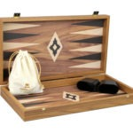 "Executive Range Manopoulos Backgammon Set ""Walnut""- 20″"
