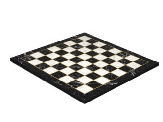 "Classic Range Wooden Flat Chess Board ""Black Marble""- 14″"
