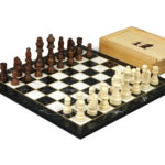 "Classic Range Wooden Chess Set With Pieces and Storage Box ""Black Marble""- 14″"