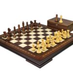 Premium Range Helena Chess Set Walnut 23″ Weighted Sheesham Fierce Knight Staunton Chess Pieces 3.75″