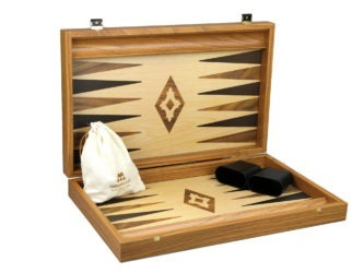 "Executive Range Manopoulos Backgammon Set ""Oak & Walnut""- 23″  Storage Racks Included"