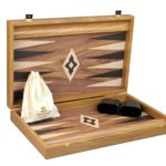 "Executive Range Manopoulos Backgammon Set ""Walnut""- 23″  Storage Racks Included"