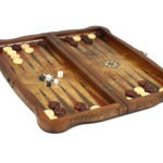 "Luxury Range Helena Backgammon Set ""Carved Bird Eye Maple"" – 20″ – 2181"