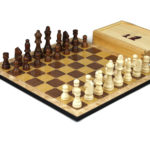 "Classic Range Wooden Chess Set With Pieces and Storage Box ""Oak""- 14″"