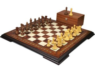 Premium Range Helena Chess Set Rosewood 17″ Weighted Sheesham Atlantic Classic Staunton Chess Pieces 3″