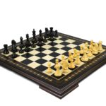 Premium Range Helena Chess Set Ebonywood 23″ Weighted Ebonised Fierce Knight Staunton Chess Pieces 3.75″