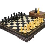 Premium Range Helena Chess Set Ebonywood 23″ Weighted Ebonised Reykjavik Staunton Chess Pieces 3.75″