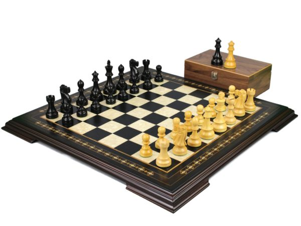 ebony staunton chess set with ebonised reykjavik staunton chess pieces