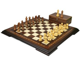 Premium Range Helena Chess Set Walnut 17″ Weighted Sheesham German Staunton Chess Pieces 3″