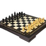 Premium Range Helena Chess Set Ebonywood 19″ Weighted Ebonised German Staunton Chess Pieces 3″