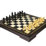Premium Range Helena Chess Set Ebonywood 20″ Weighted Ebonised French Knight Staunton Chess Pieces 3.75″