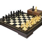 Premium Range Helena Chess Set Ebonywood 23″ Weighted Ebonised French Knight Staunton Chess Pieces 3.75″