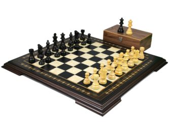 Premium Range Helena Chess Set Ebonywood 17″ Weighted Ebonised French Knight Staunton Chess Pieces 3″