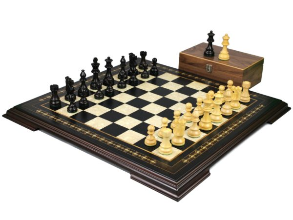 ebonywood staunton chess set with ebonised french knight chess pieces