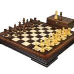 Premium Range Helena Chess Set Walnut 19″ Weighted Sheesham French Knight Staunton Chess Pieces 3″