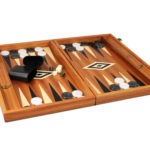 "Executive Range Manopoulos Backgammon Set ""Mahogany""- 23″  Storage Racks Included"