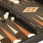 "Executive Range Manopoulos Backgammon Set ""Wenge & Oak""- 23″  Storage Racks Included"