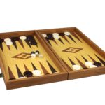 "Executive Range Manopoulos Backgammon Set ""Oak & Walnut""- 20″"