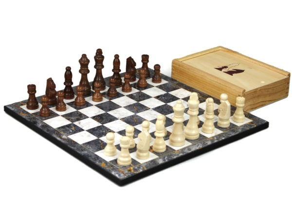 grey marble chess set