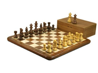 Original Range Chess Set Sheesham Flat Board 16″ With French Lardy Staunton Chess Pieces 3″