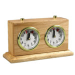 Turnier Chess Clock Analog Charcoal Natural Wood With Stand