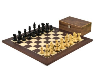 Executive Range Wooden Chess Set Macassar Board 20″ Weighted Ebonised Reykjavik Staunton Pieces 3.75″
