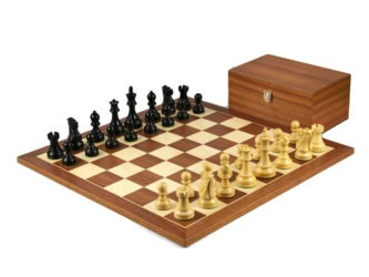 Executive Range Wooden Chess Set Mahogany Board 20″ Weighted Ebonised Reykjavik Staunton Pieces 3.75″