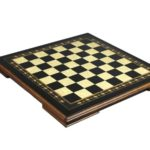 "Premium Range Helena Chess Board ""Charcoal Black Ebony""- 17″"
