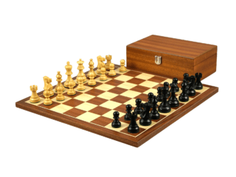 Economy Range Wooden Chess Set Mahogany Board 16″ Weighted Ebonised Classic Staunton Pieces 3″